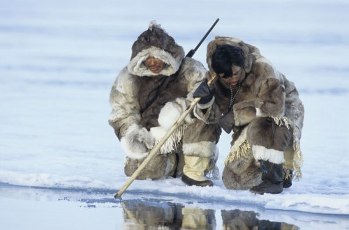 Inuit People Hunting For Fish
